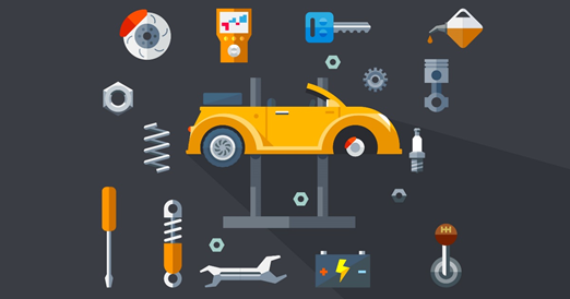 Illustration of a car & many parts.